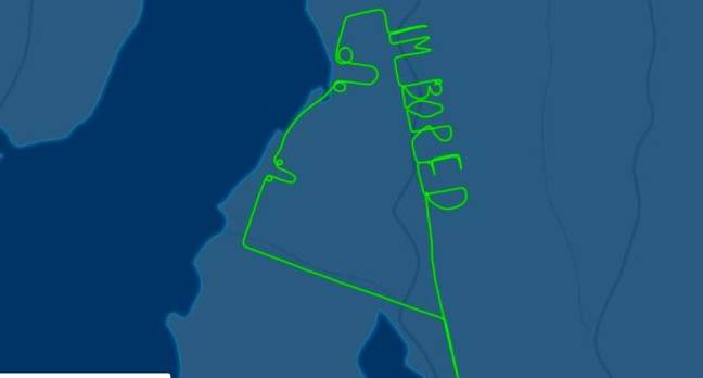 The message was only visible to those following his progress using flight tracking software. Credit: Flightaware