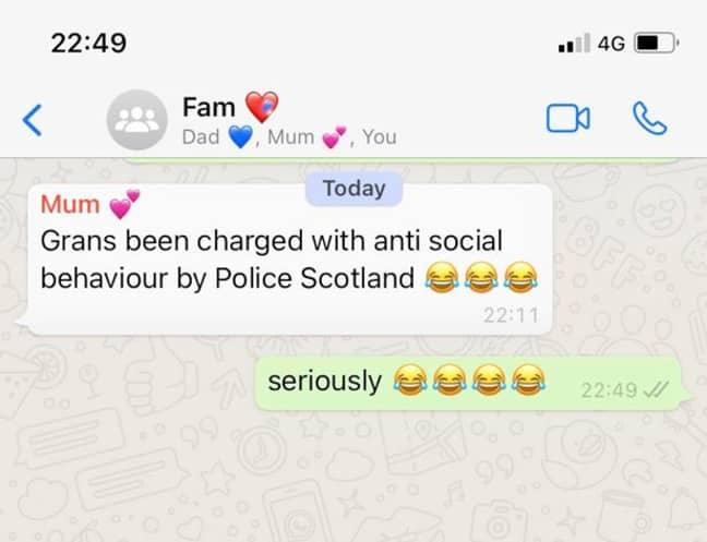 The WhatsApp message from her mum. Credit: Deadline News