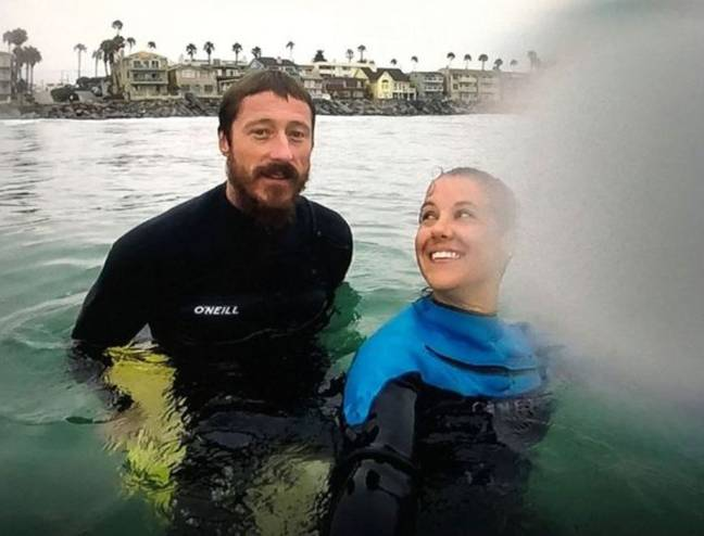 The couple were swimming off the coast of California when the attack happened. Credit: Dusty Phillips