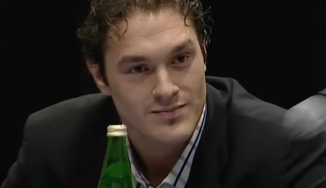 Fury at a 2008 press conference, sounding like a completely different man. Credit: YouTube/BT Sport