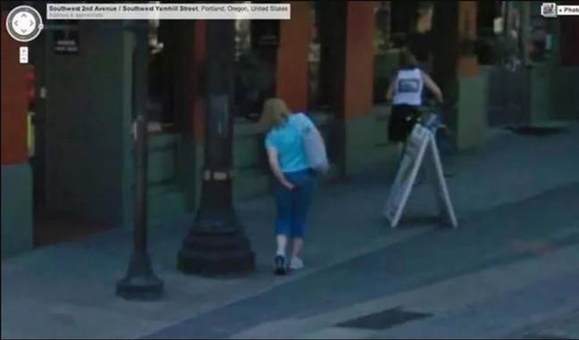 This woman appears to be pulling out a wedgie on camera. Credit: Google Maps