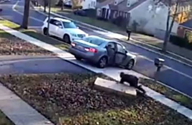 The thief stole the TV from a porch before dropping it and falling over. Credit: Prince George's County Police Department