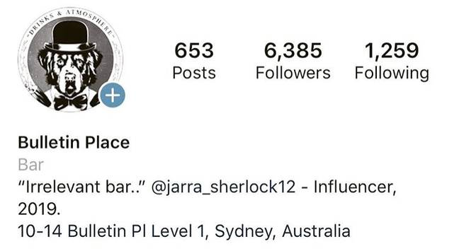 Bulletin Place altered its Insta bio in light of Jarra's comments. Credit: Instagram