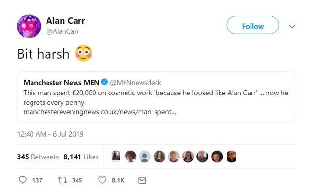 The news didn't go down too well with Alan Carr. Credit: Twitter