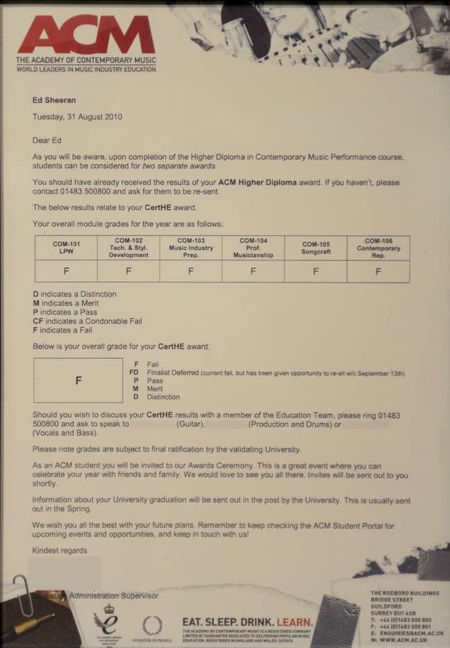 Ed Sheeran's music college report card. Credit: AlbanPix