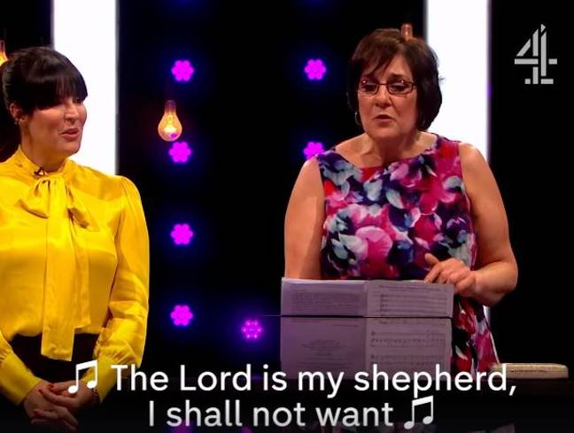 Judith began to sing a hymn for the lucky fellas. Credit: Channel 4/Naked Attraction