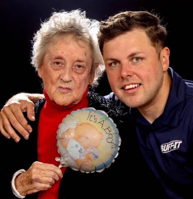 Ryan and his grandma with the balloon. Credit: The Sun