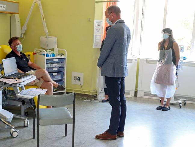 The Duke of Cambridge visits one of the participants in the Oxford vaccine trial. Credit: PA