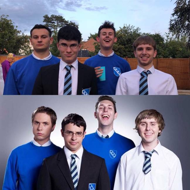 It just gets better and better. From L-R: Ollie Harrison as Simon, Ewan Vowles as Will, Charlie Stannard as Neil and Benn Bryant as Jay. Credit: LADbible/E4/Bwark Productions