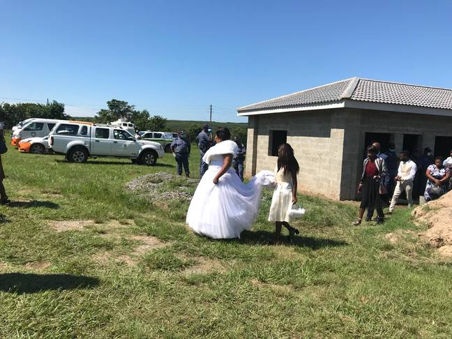 A bride and groom were arrested after their ceremony breached South Africa's strict lockdown measures. Credit: Twitter/uMhlathuze