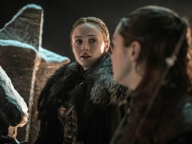Sansa and Arya on the battlements. Credit: HBO