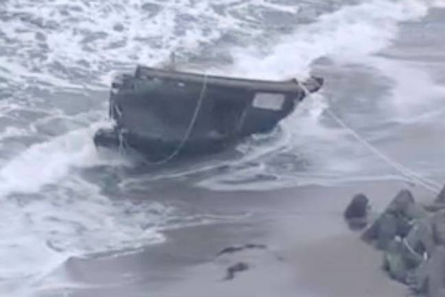 Five skeletal bodies and two human head were found in a shipwreck on Sado Island last December. Credit: NHK