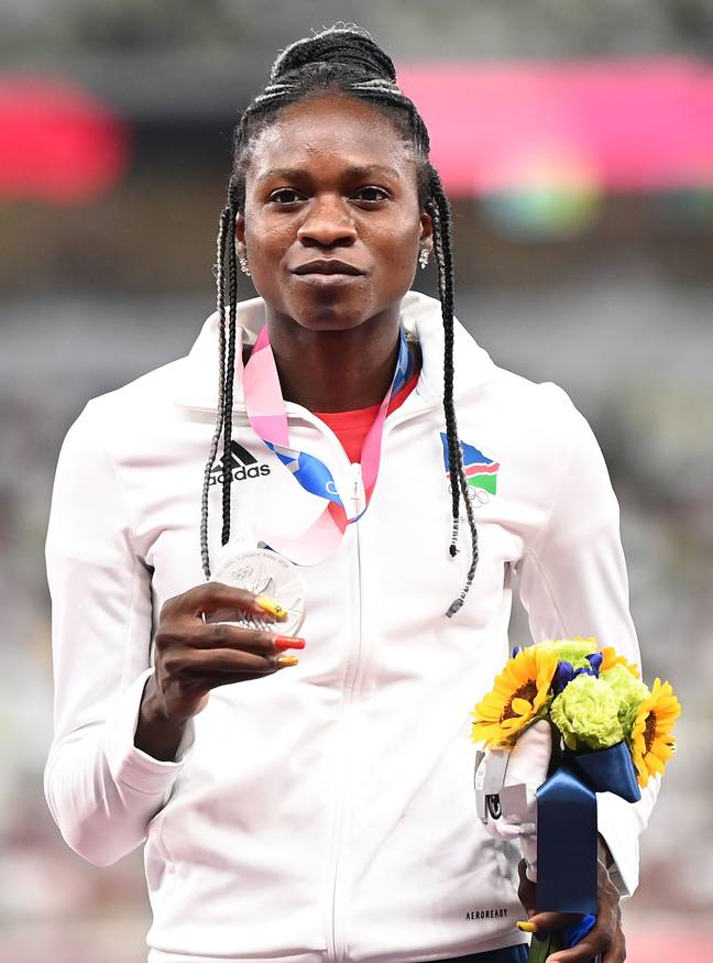 Christine Mboma came second in the women's 200m final. Credit: PA