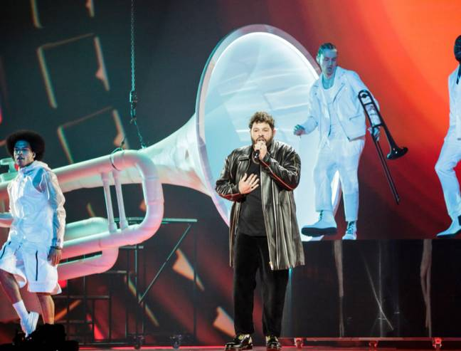 James Newman performed 'Embers' during the live semi-final on Thursday