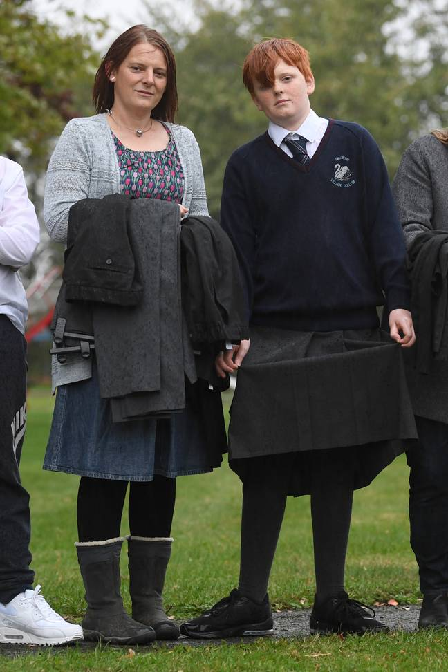Josh Mayer has been to school in a skirt after being taken out of lessons for wearing the wrong type of trousers. Credit: Cambridge News/BPM MEDIA