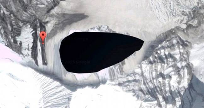 The Kangtega mountain top on Google Earth. Credit: Google