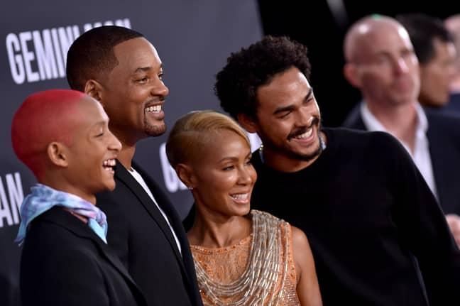 Jaden Smith, Will Smith, Jada Pinkett Smith and Trey Smith. Credit: PA