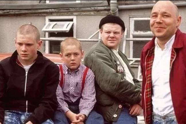 Stephen Graham (right) and Thomas Turgoose (second left) in This is England. Credit: Optimum Releasing