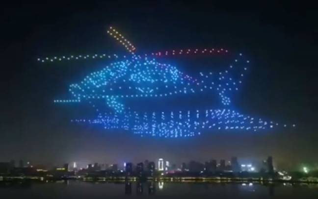 The impressive display was filmed during the close of the 2019 Nanchang Flight Convention. Credit: New China TV