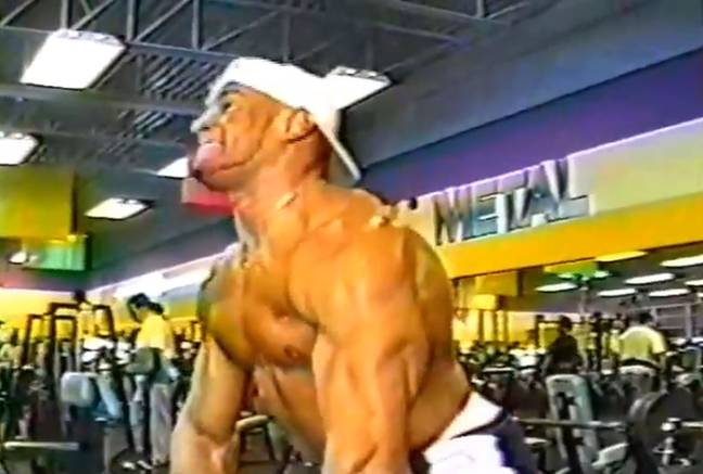 John DePass, now 46, in a bodybuilding video from 22 years ago. Credit: Kennedy News and Media