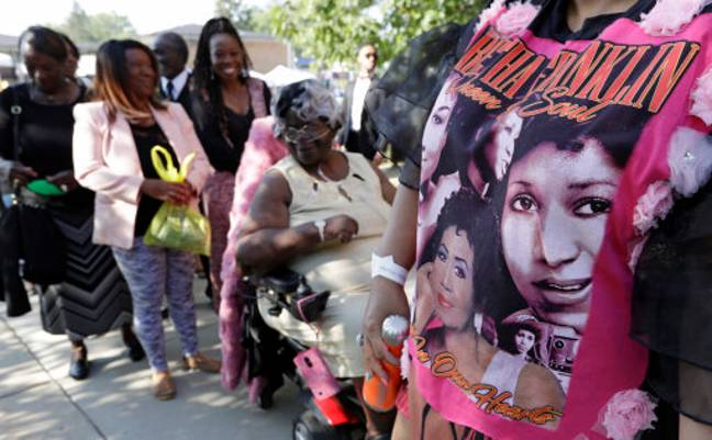 Detroit residents wait in line to enter the Greater Grace Temple for legendary singer Aretha Franklin's funeral. Credit: PA