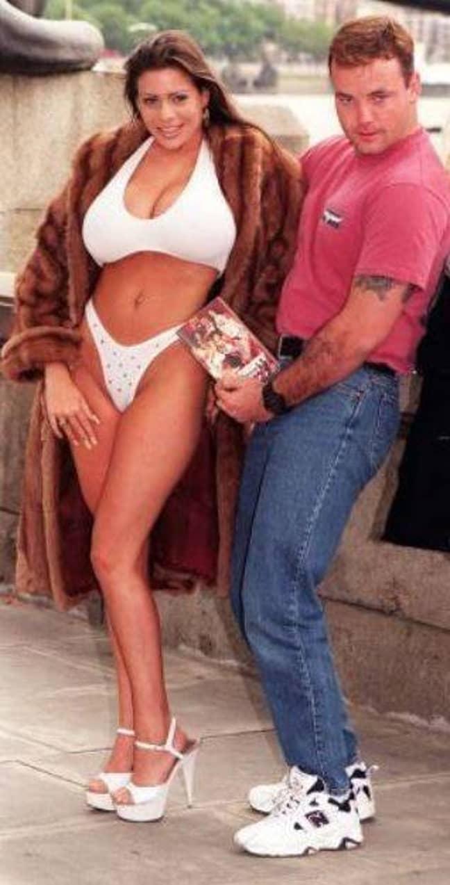 John, with model Linsey Dawn McKenzie, 18, to promote soft porn video 'John Wayne Bobbitt Uncut'. Credit: PA