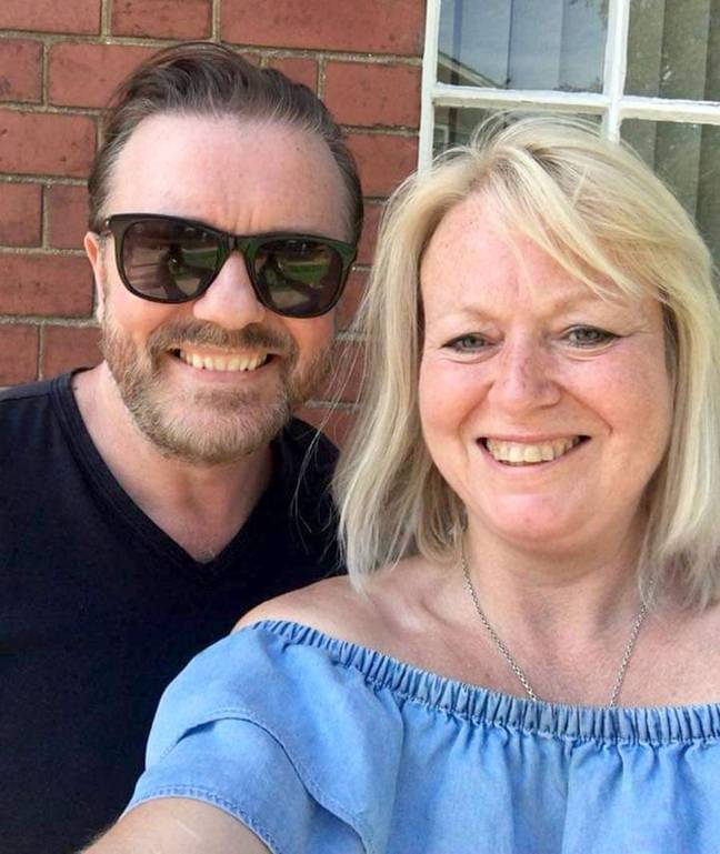Ricky Gervais with  Thomas Bastable's mum Debbie Bastable. Credit: Caters