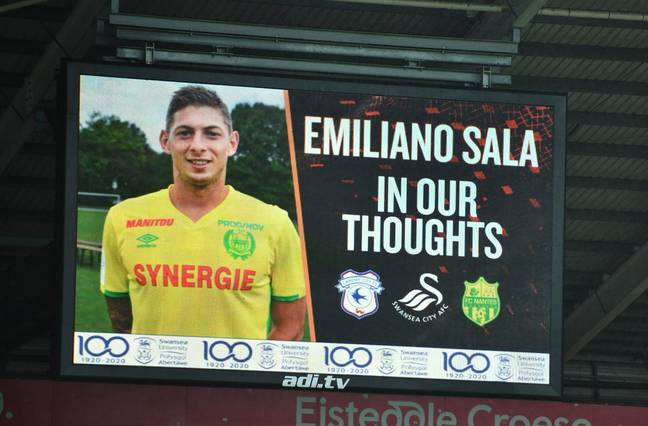 Tribute done for Sala in Swansea. Credit: PA