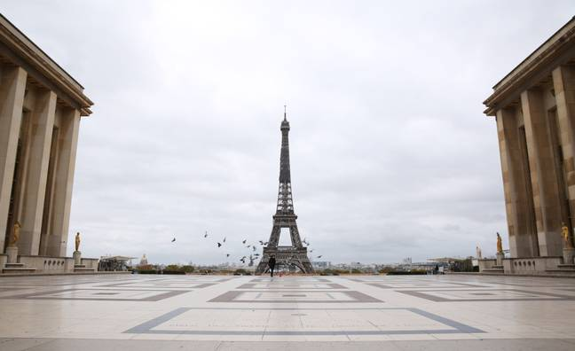 The deserted Trocadero Place in Paris, France, yesterday. Credit: PA