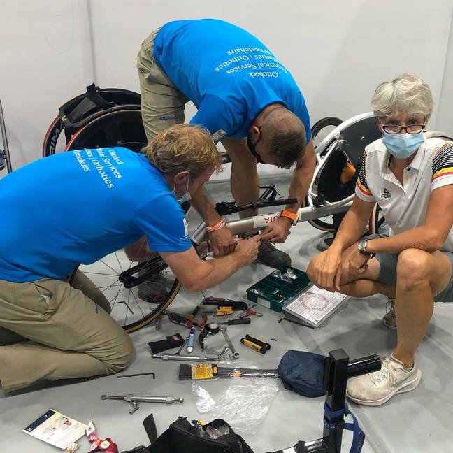 Peter Genyn's team raced to fix his wheelchair before the event. Credit: Instagram/@genynpeter