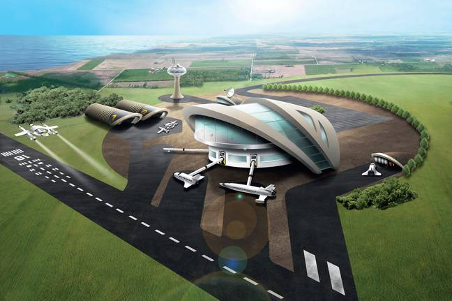 An artist's impression of the proposed spaceport. Credit: SWNS