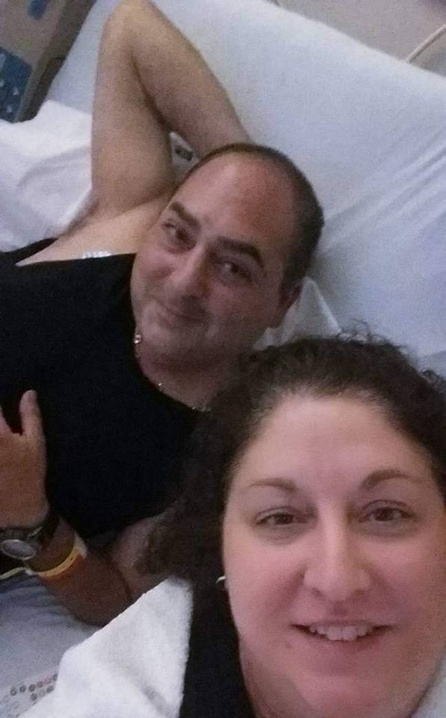 Danny and his wife in hospital. Credit: Caters