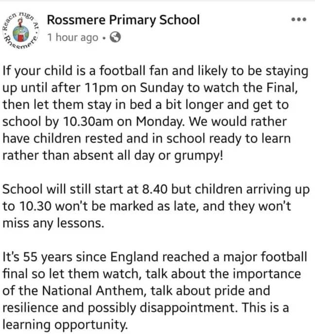 Rossmere Primary School's offer. Image: Facebook