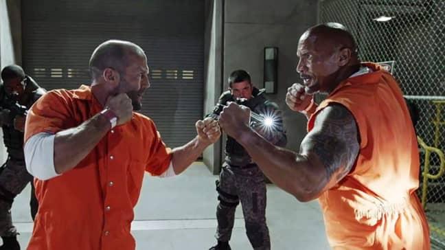 Johnson and Statham as Hobbs and Shaw. Credit: NBC