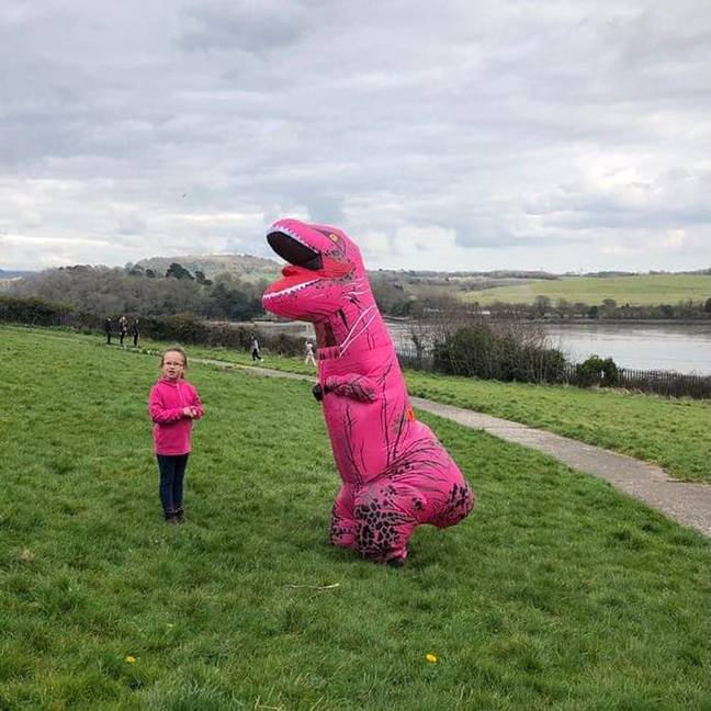 Another dino cosplayer in the park. Credit: PA Real Life
