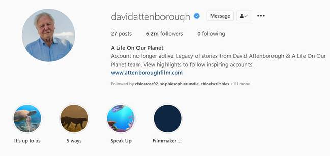 Sir David Attenborough has quit Instagram. Credit: Instagram
