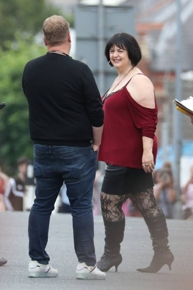 James Corden and Ruth Jones during filming for the Gavin and Stacey Christmas special. Credit: PA