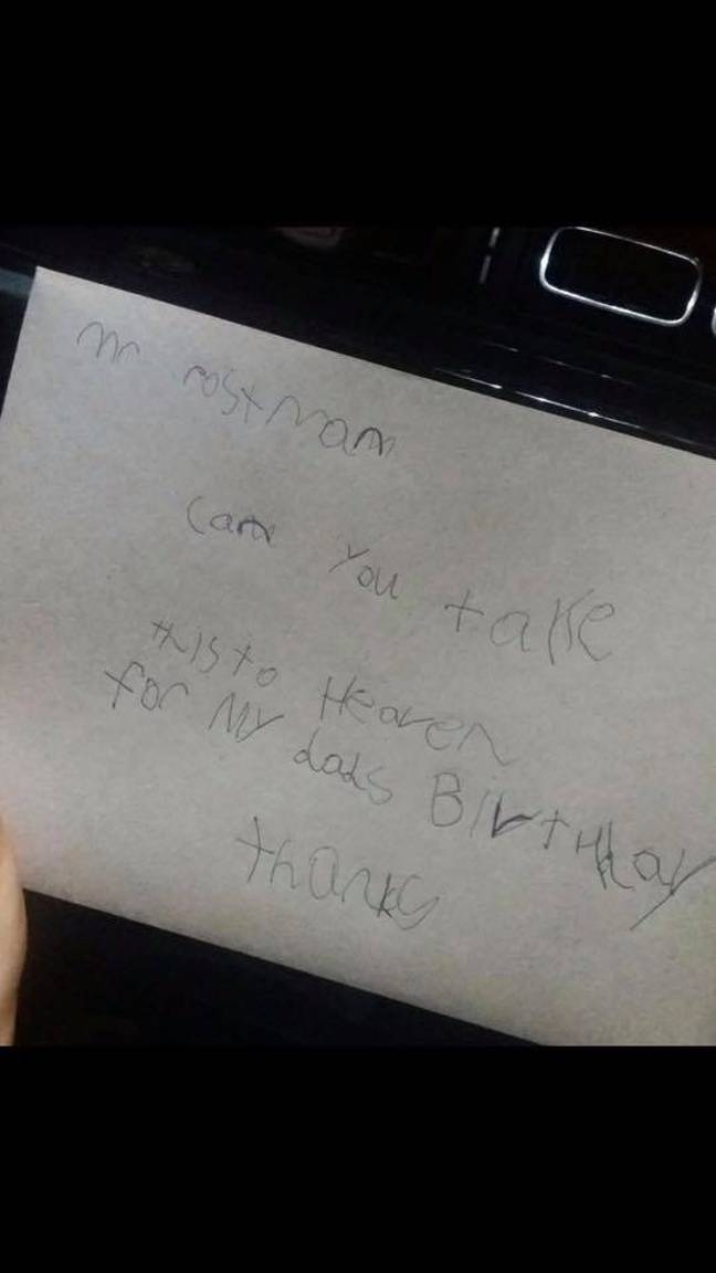 Jase sent the letter for his dad's birthday. Credit: Supplied