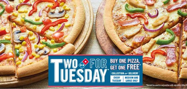 Get Two Large PIzzas For Only £4.99 After Cashback. Credit: Domino's