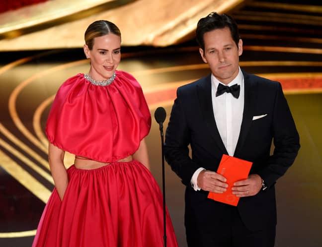 Paul Rudd and Sarah Paulson presented an award at tonight's Oscars. Credit: PA