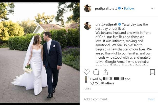 Chris Pratt married Katherine Schwarzenegger earlier this month. Credit: Instagram/@prattprattpratt