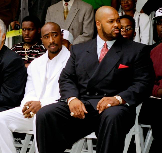 Tupac Shakur with Suge Knight in Los Angeles. Credit: PA