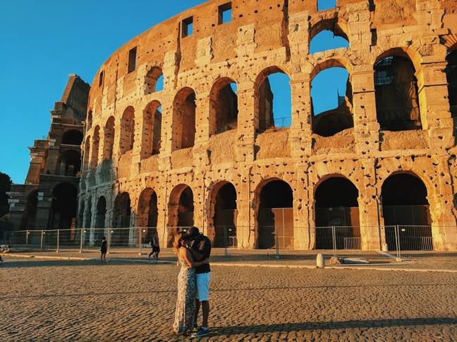 She grabbed a guy in front of the Colosseum. Credit: Kristiana Kuqi
