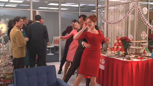 The Mad Men Christmas party looks fun, but I'll bet there were some regrets the next day. Credit: AMC