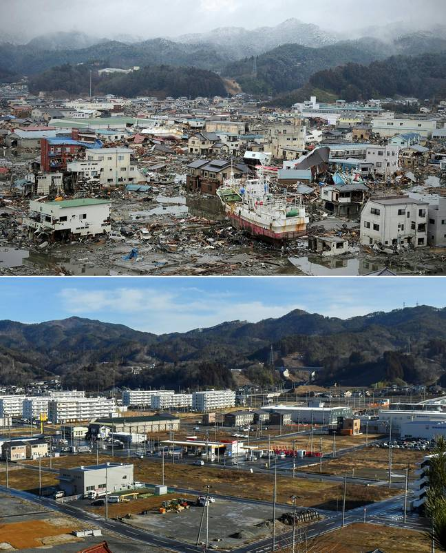 Kesennuma, Miyagi prefecture - directly after the earthquake and ten years on. Credit:  PHILIPPE LOPEZ,KAZUHIRO NOGI/AFP via Getty Images