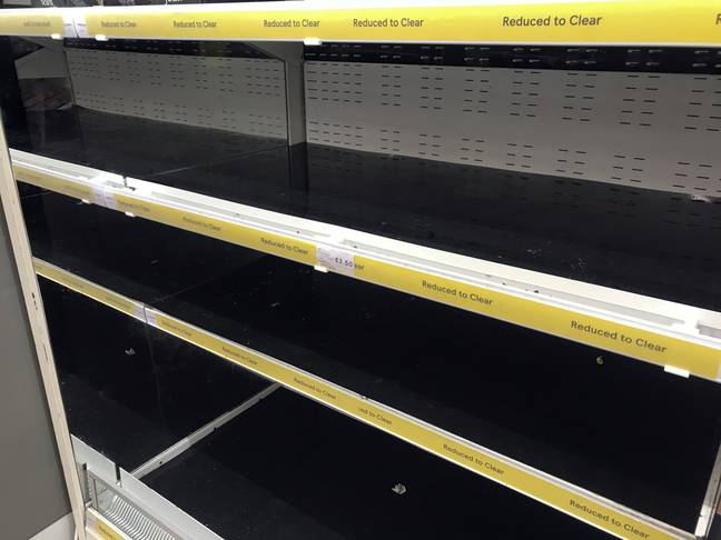 Empty shelves in the Reduced to Clear aisle at the Portsmouth North Harbour Tesco. Credit: PA