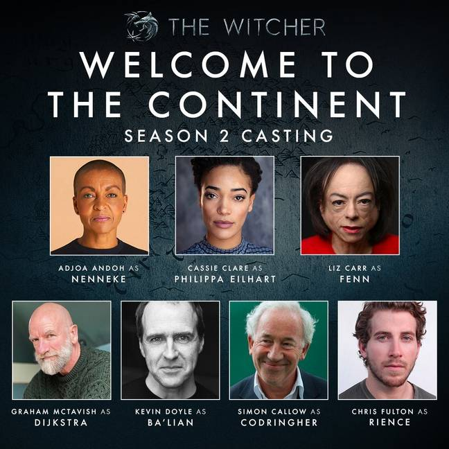 The Witcher season 2 cast ' Twitter/Lauren S Hissrich