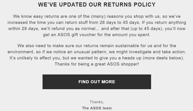 The email sent out to customers. Credit: Asos