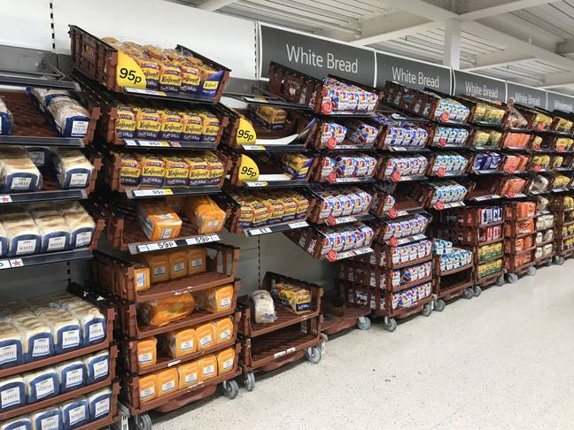 A view of the bread aisle in Tesco. Credit: PA