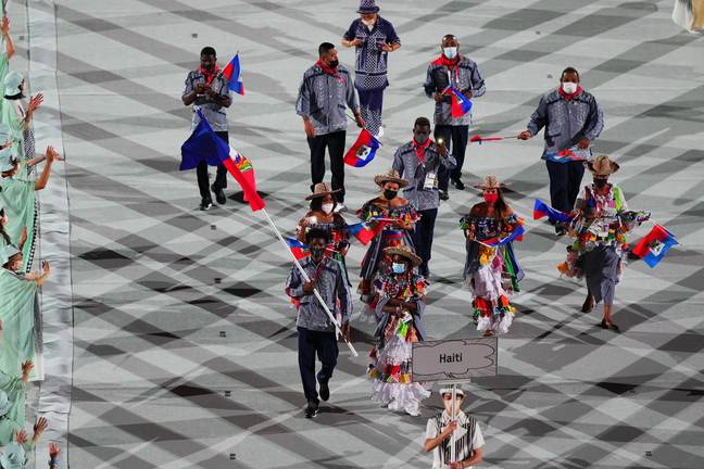 The Haiti team entering the stadium in Tokyo. Credit: PA
